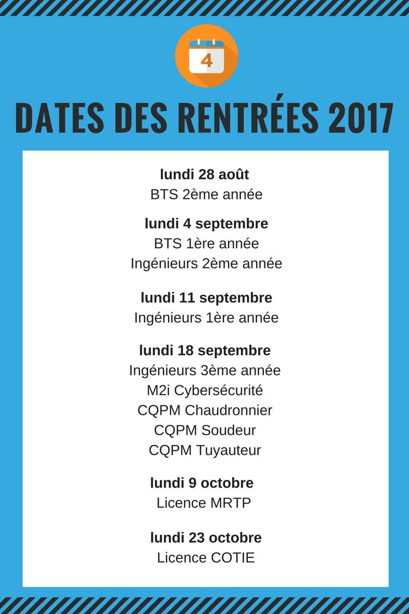 dates rentrées 2017