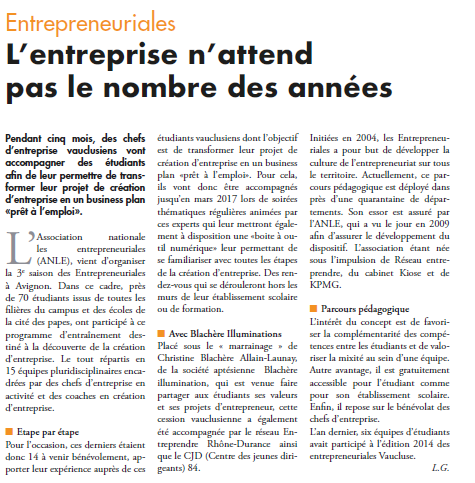 Article Les Echos du Mardi sur les Entrepreneuriales
